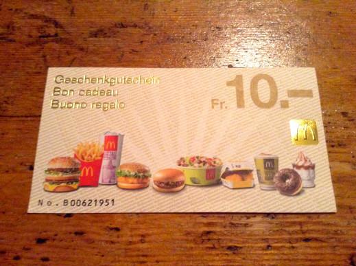 Les bons cadeaux McDonald's